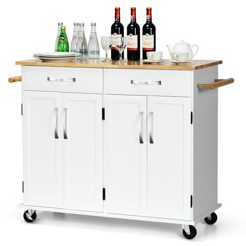 Costway Kitchen Trolley Island Utility Cart Wood Top Rolling Storage Cabine