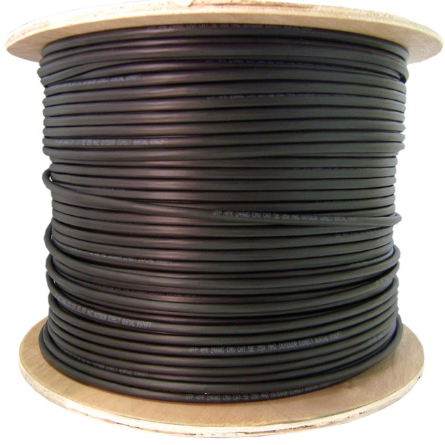 Direct Burial/Outdoor rated Cat6 Black Ethernet Cable, 1000 foot