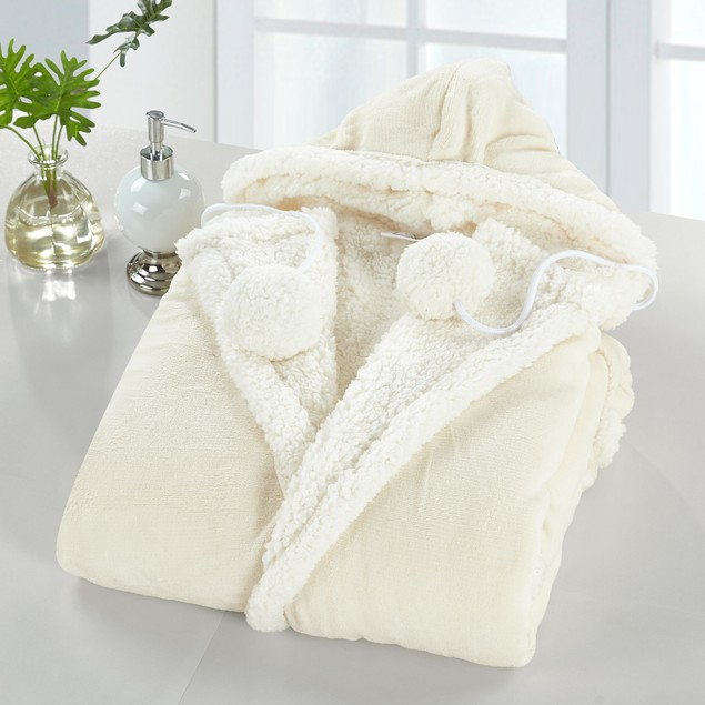 Chic Home Jellie Snuggle Super Soft Sherpa Lined Hoodie Robe, 1-Pack
