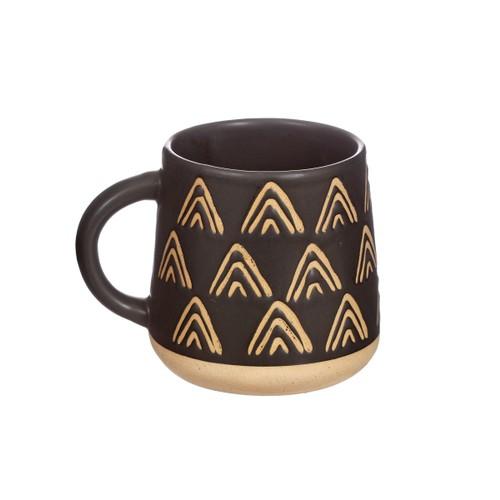 Sass and Belle Wax Resist Triangles Black Mug