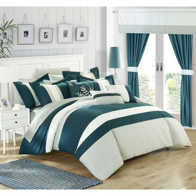 Chic Home 24 Pc. Vincenza Bedroom Set w/ Octagon Embroidery