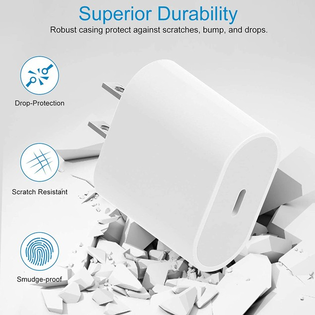 18W USB C Fast Charger by NEM Compatible with Samsung Galaxy S20 5G - White