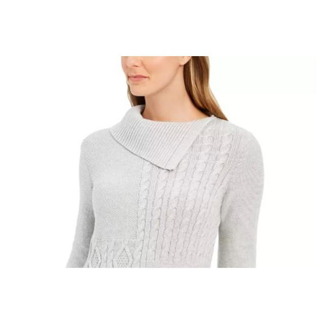 Charter Club Women's Patchwork Stitch Sweater Natural Size Medium
