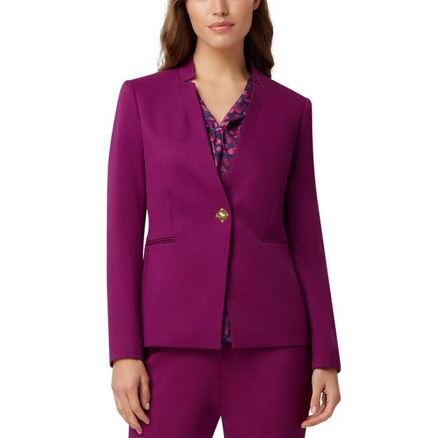Tahari ASL Women's Turnlock-Closure Blazer Purple Size Square 18