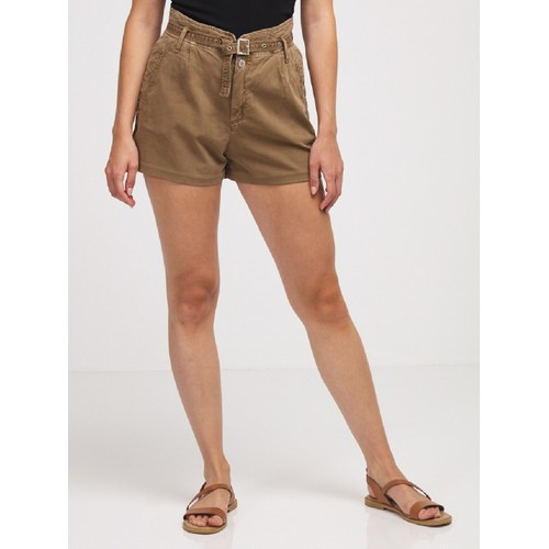 IKKS Women's Belted Shorts Brown Size 6 (Small)