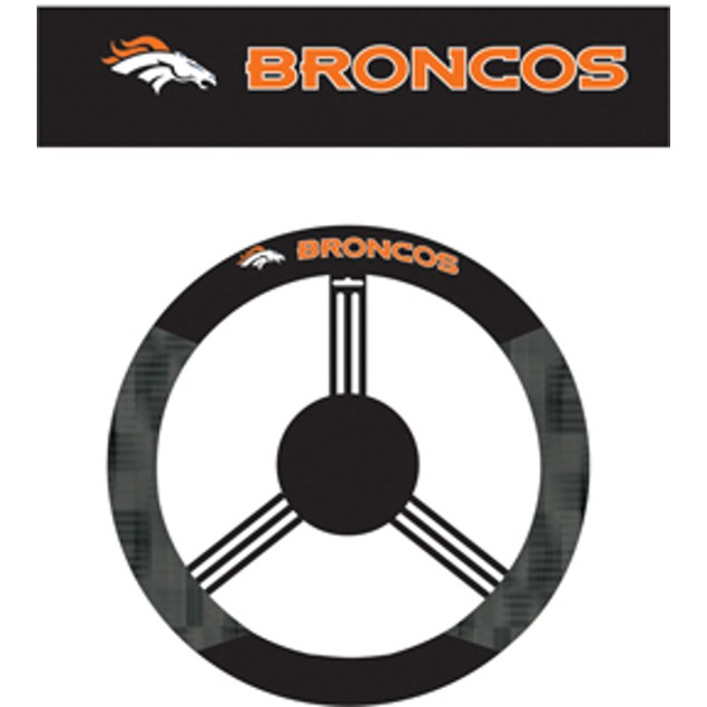 Denver Broncos Steering Wheel Cover NFL Football Team Logo Poly Mesh