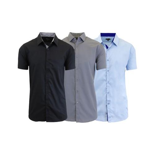 Men's 3-Pack Slim Fit Short Sleeve Dress Shirts (S-5XL)