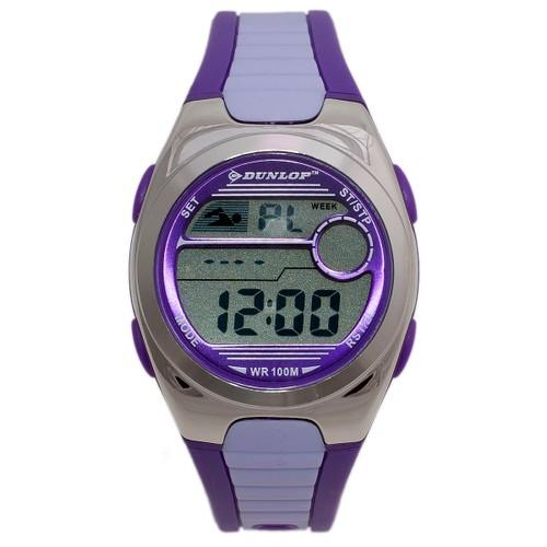 Dunlop Flash DUN194M09 Plastic Case Grey/Purple Rubber Mineral Womens Quartz