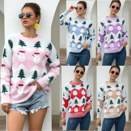 Women's Christmas Tree Snowman Sweater