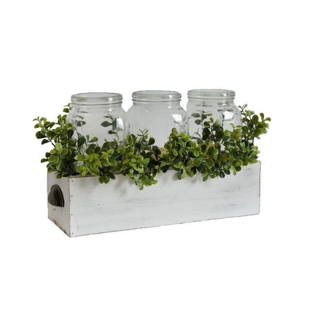 Decorative Wood Box with Greenery and Keyhole Hangers - Multicolored
