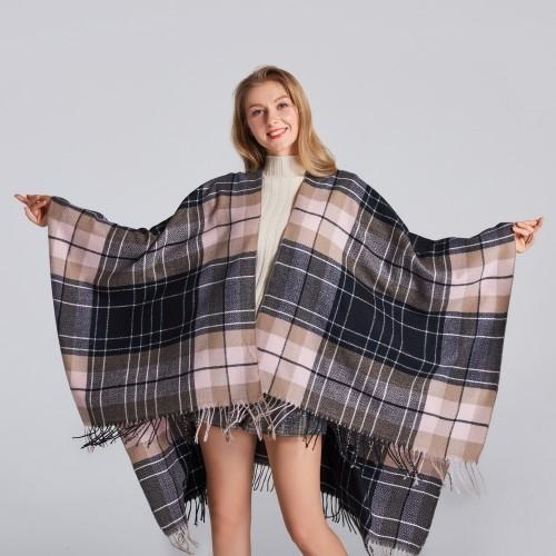 Ladies Classic Scottish Plaid Shawl Thickened Warmth
