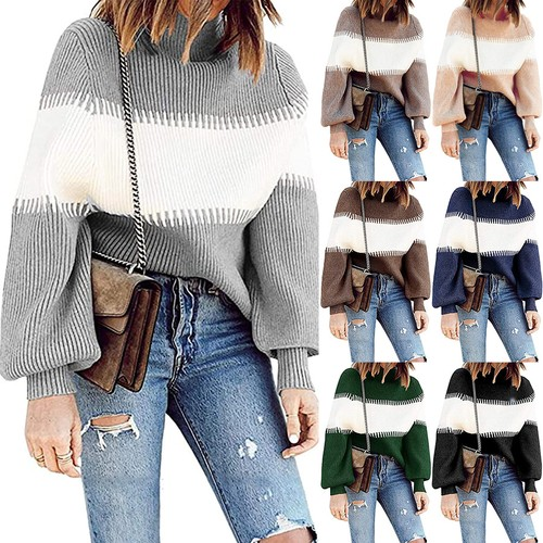 Women's Casual Pit Strip Contrast Sweater