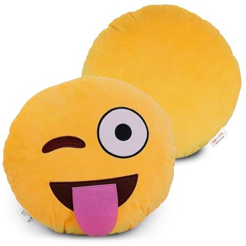 Emoji Pillow (Sticking Tongue w' Winking) Cartoon Wink Face
