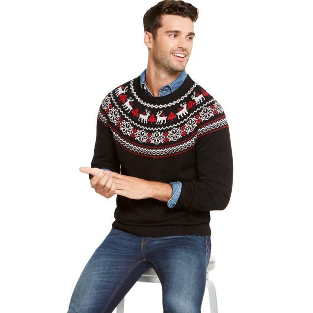 Charter Club Men's Fair-Isle Family Family Sweater Black Size Medium