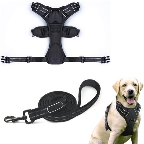 Dog Pet Harness Reflective Adjustable Soft Padded Dog Vest No-Choke Vest