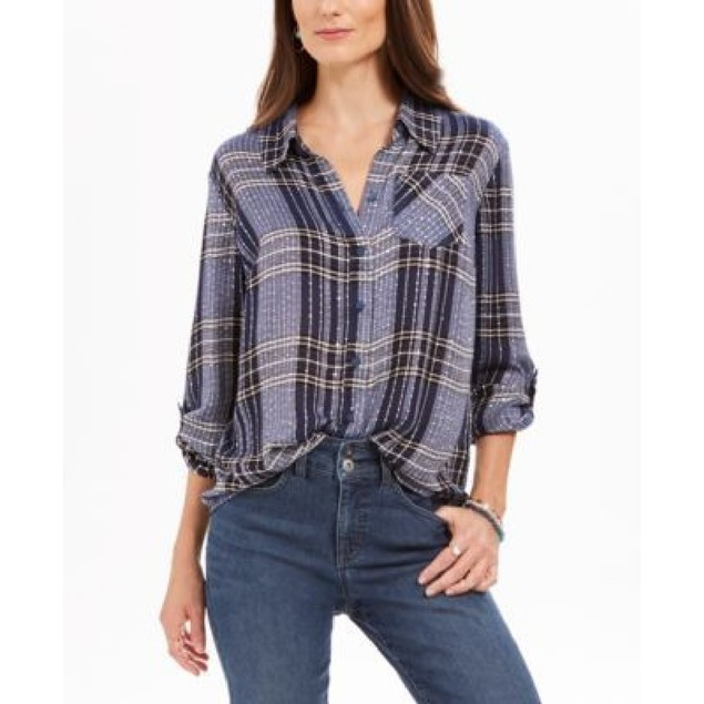 Style & Co Women's Sparkle Plaid Shirt Wine Size Extra Large