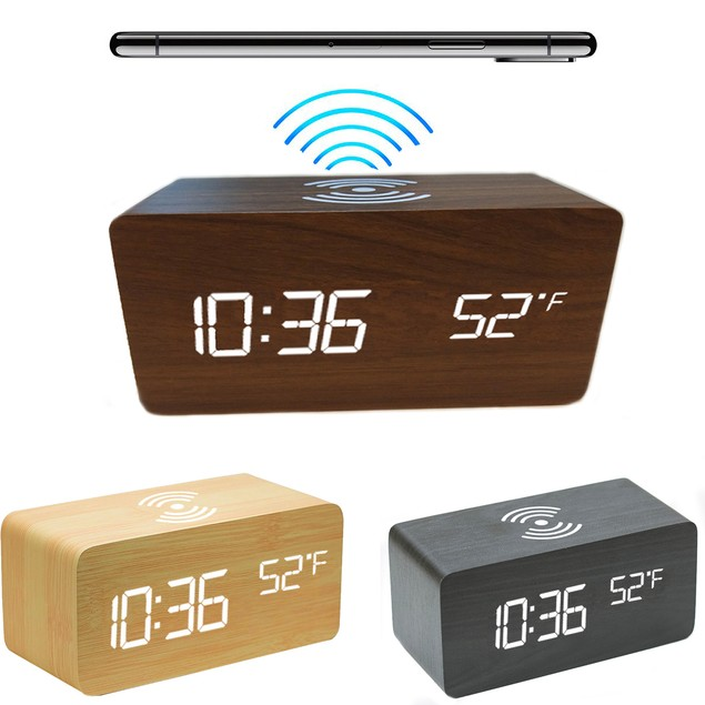 Zummy Wooden Digital LED Desk Alarm Clock Thermometer W/  Wireless Charger