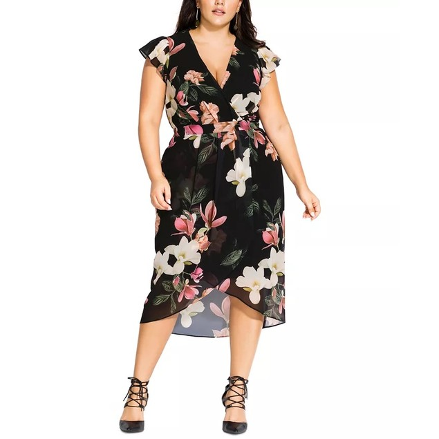City Chic Women's Trendy Plus Size Winter Jasmine Dress Small Petite