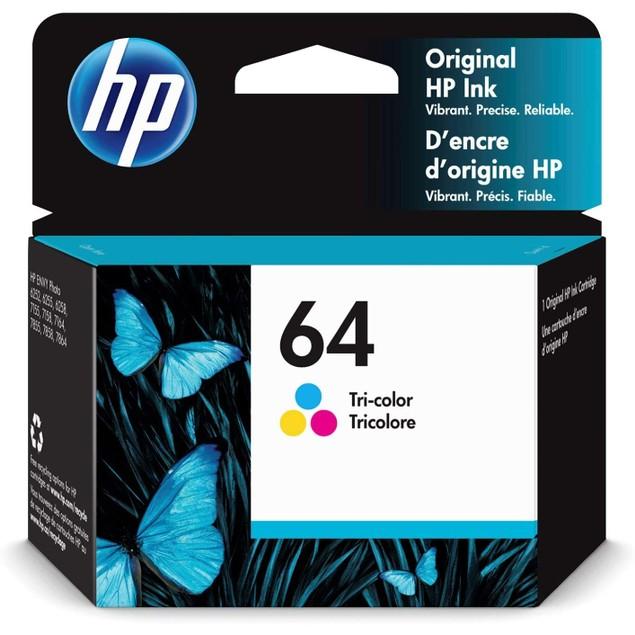 HP 64 | Ink Cartridge | Works with HP ENVY Photo 6200 Series, 7100 Series, 7800 Series, HP Tango and HP Tango X | Tri-Color | N9J89AN