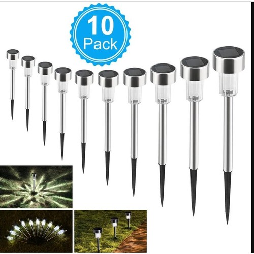 10Pcs 5W Solar Power LED Lawn Lamps With Lampshades Bright White