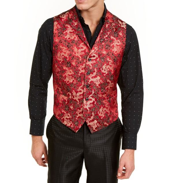 Tallia Orange Men's Slim-Fit Red/Gold Floral Dragon Vest Red Size 38