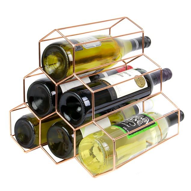 6 Bottle Rose Gold Wine Rack   MandW
