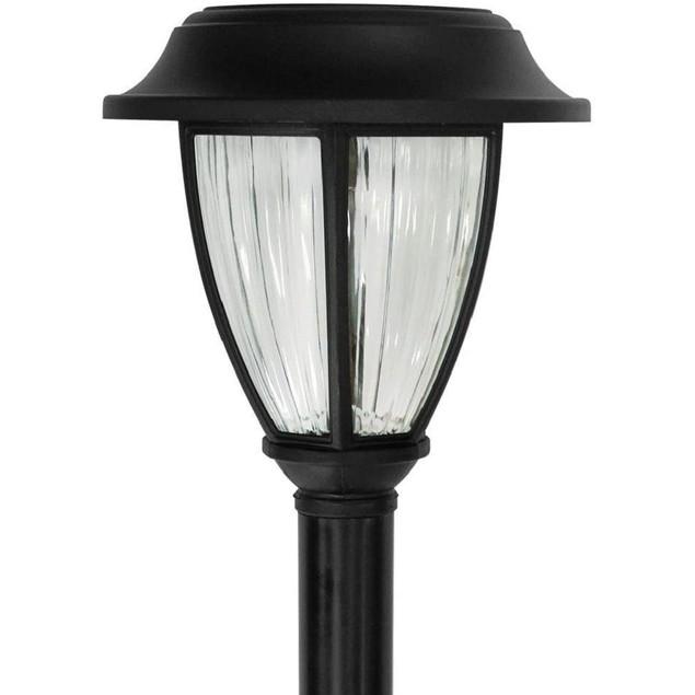 Solar Black Outdoor Integrated LED 3000K Warm White Landscape Path Light,