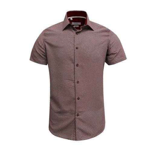 Monza Modern Fit Short Sleeve Red Herringbone Dress Shirt