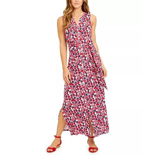 Charter Club Women's Tie Waist Maxi Dress Red Size Medium