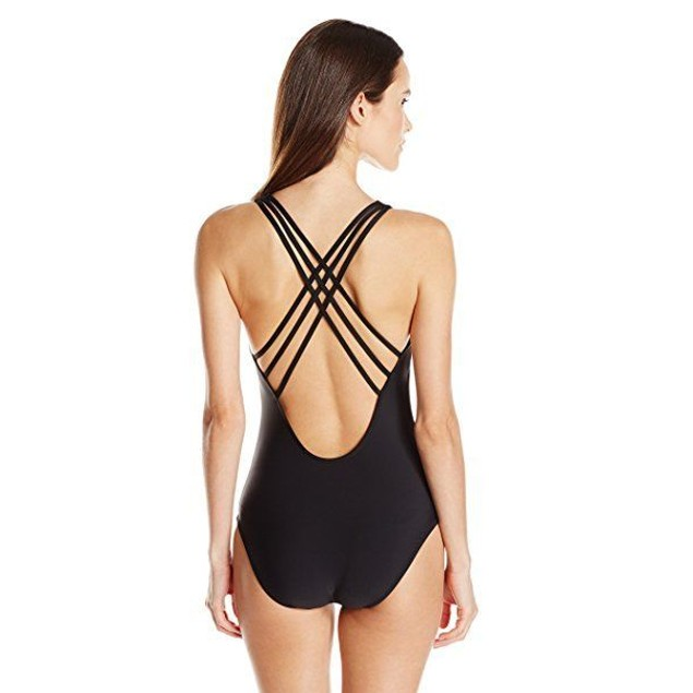 ATHENA Women's Cabana Solids Vanessa Soft Cup One Piece Swimsuit, Black, XS