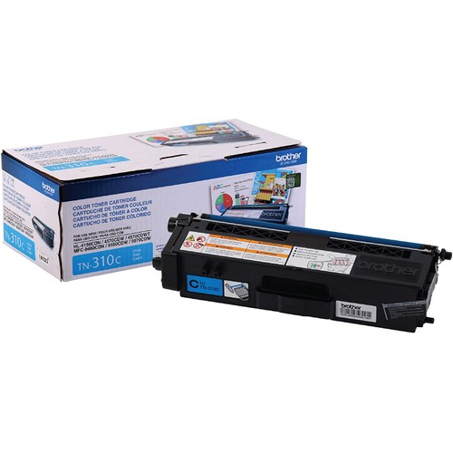 Brothers Brother Genuine Standard Yield Toner Cartridge, TN310C, Replacement Cyan Toner, Page Yield Up To 1,500 Pages, TN310