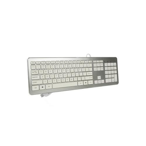 Evertek 105-Key Full-Size USB Wired Brushed Aluminum Keyboard