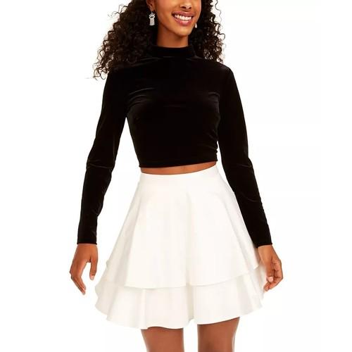 City Studios Juniors' 2-Pc. Velvet Top & Satin Skirt Dress White Size 3