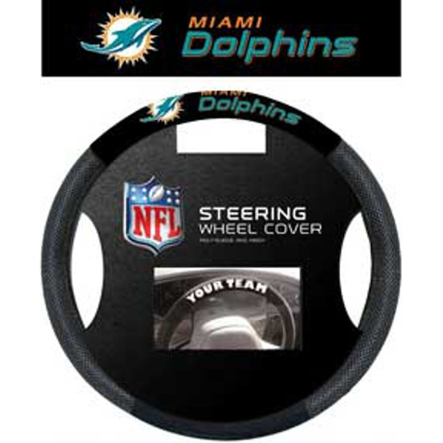 Miami Dolphins Steering Wheel Cover NFL Football Team Logo Poly Mesh