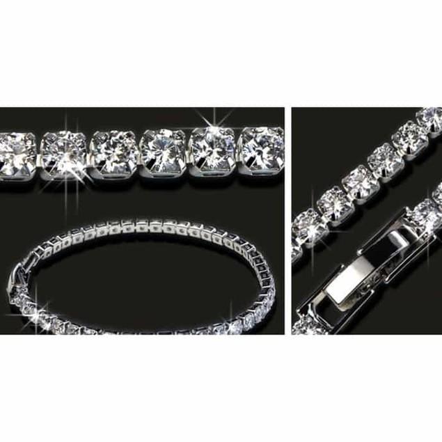 CZ Diamond Tennis Bracelet with 18k White Gold Plating