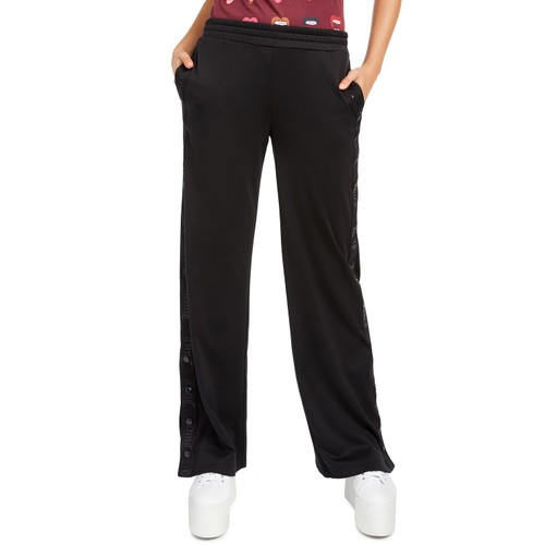Juicy Couture Women's Side-Snap Track Pants Black Size Extra Large