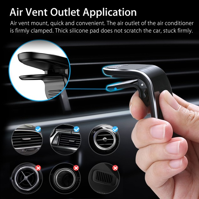Universal Magnetic Car Air Vent Mount + 3-Port Car Charger