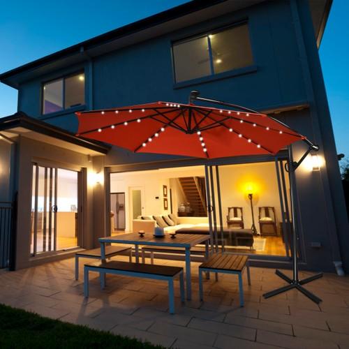 Costway 10FT LED Solar 360 Degrees Rotation Patio Offset Umbrella