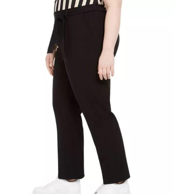 Bar III Women's Trendy Plus Tie Waist Pants Black Size 1X