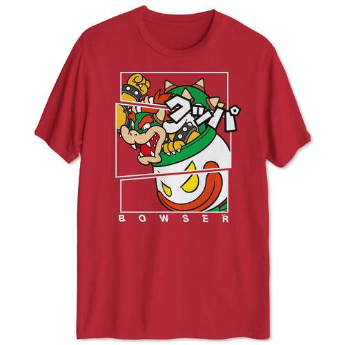 Fragmented Bowser Men's Graphic T-Shirt Red Size Large