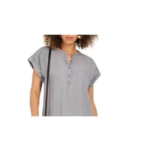 Style & Co Women's High Low Chambray Shirt Dress Grey Size Medium