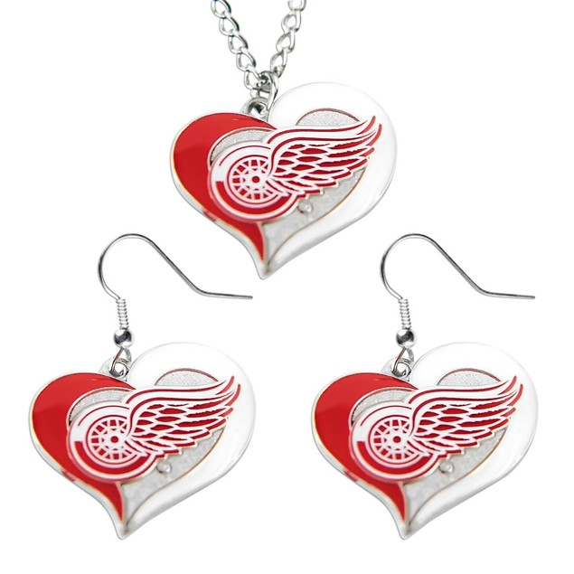 Detroit Red Wings Swirl Heart Necklace and Earring Set NHL Charm Gift