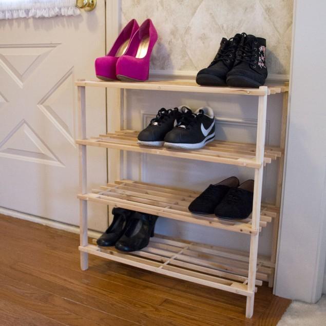 Lavish Home 4 Tier Blonde Wood Shoe Rack