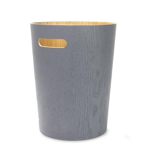 Wooden Waste Paper Bin | MandW Grey