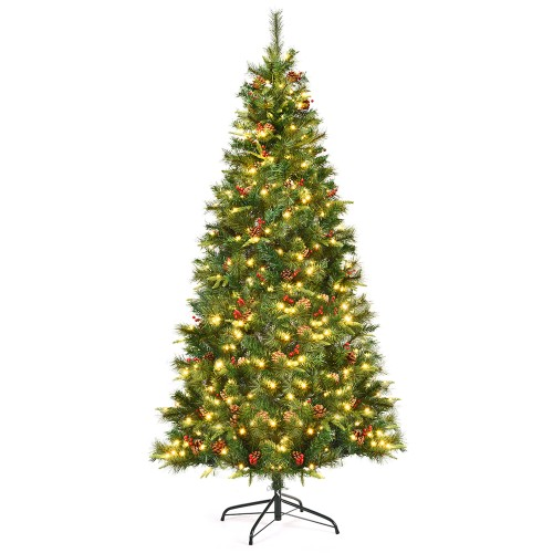 Costway 7Ft Pre-lit Hinged PE Artificial Christmas Tree w/ 350 LED Lights &