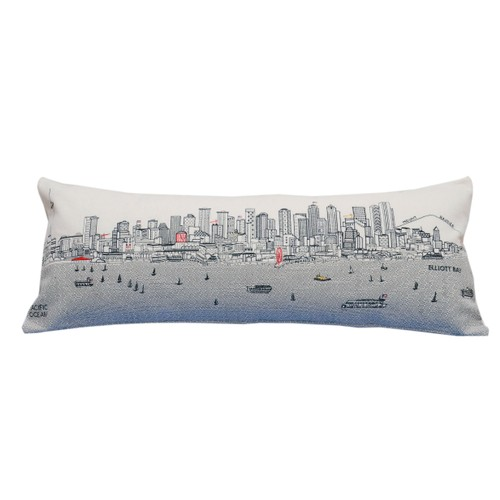 Spura Home Seattle Skyline Embroidered Wool Cushion Day/Night Setting
