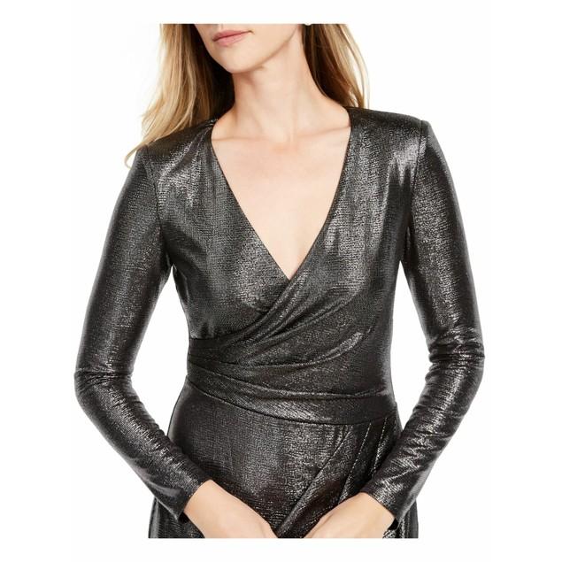 Adrianna Papell Women's Metallic Jersey Faux Wrap Dress Charcoal Size 10