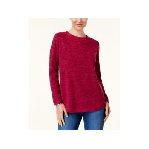 Karen Scott Women's Sport Space-Dye Microfleece Top Red Size Small