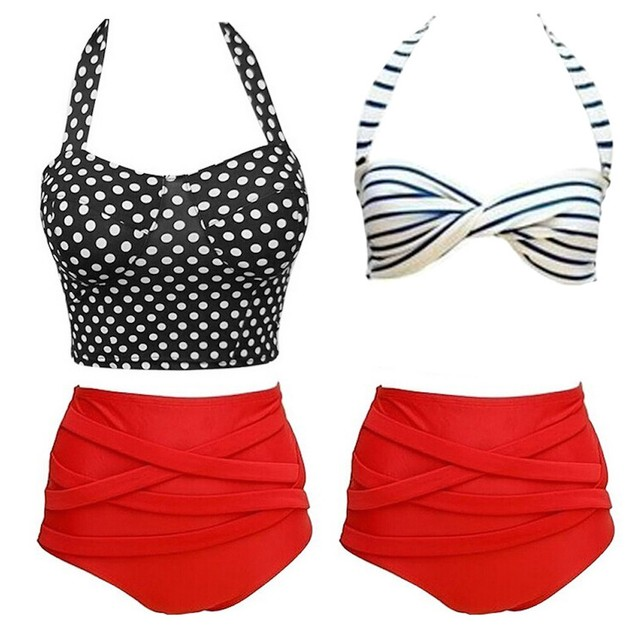 Junior's Red High-Waisted Swimsuit - 2 Styles