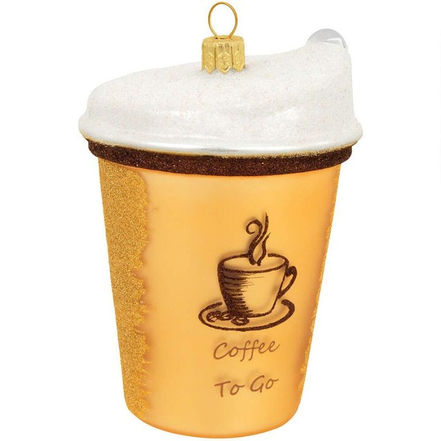 Coffee To Go Glass Ornament